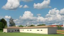 Здание открытого легкоатлетического ядра с трибуной на 500 мест
